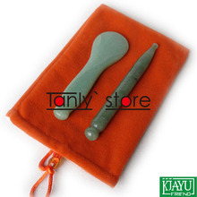 Gift chart & bag Traditional Acupuncture Massage Tool Guasha Beauty board Natural Stone 2pcs/set(needle+spoon shape) traditional acupuncture massage spa tool guasha board natural green agate stone fat u shape