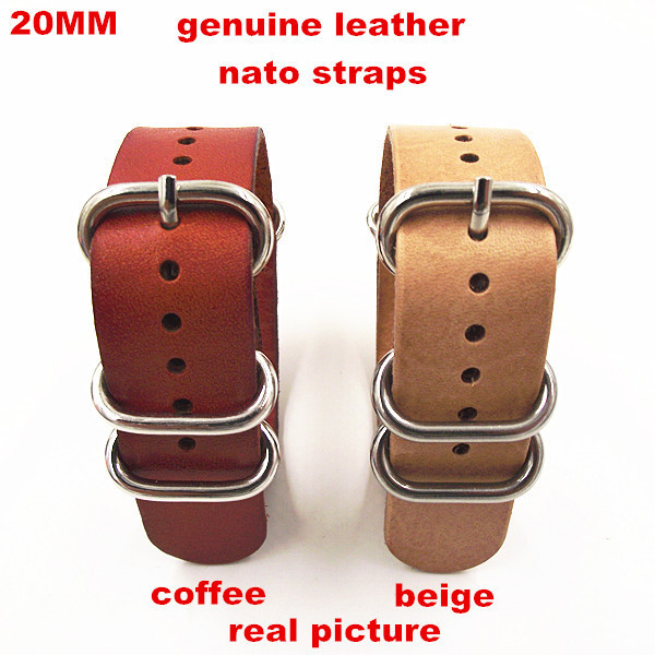 79d1d390ffa zulu straps - Wholesale 10PCS lots High quality 20MM Nato strap genuine  leather Watch band NATO straps watch strap-1008