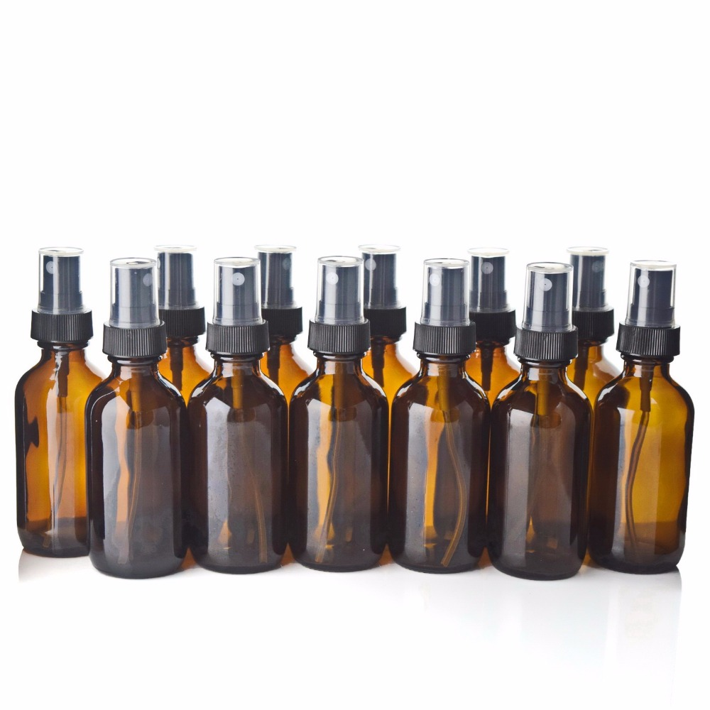 12pcs 60ml Amber Glass Spray Bottle Empty Refillable Containers With Black Fine Mist Sprayer For Essential Oils Perfume 2Oz