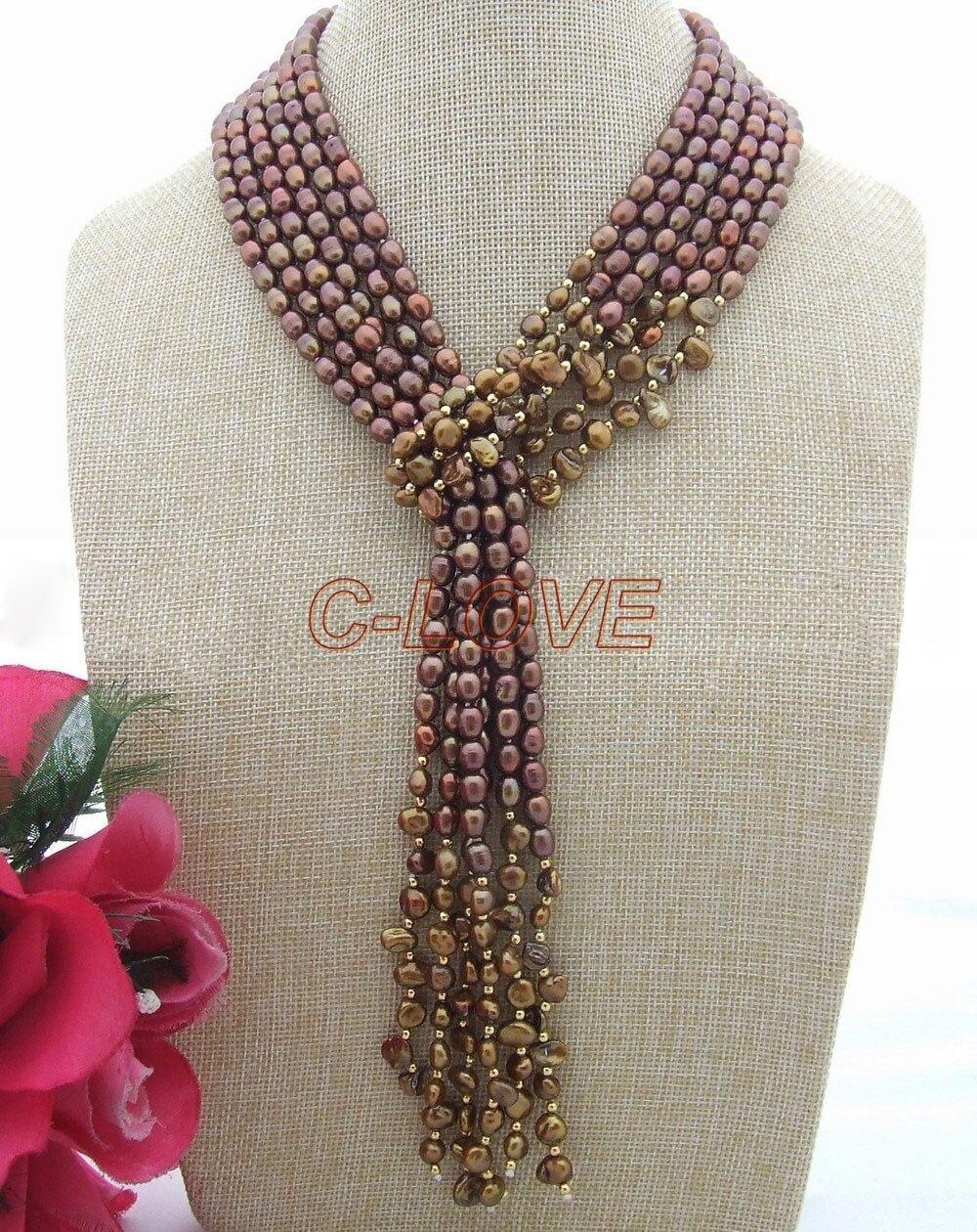 51 3 Strands Brown Rice Keshi Freshwater Pearl Necklace51 3 Strands Brown Rice Keshi Freshwater Pearl Necklace