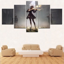 Modular Picture Wall Art Decor Game Poster Canvas Print 5 Panel NieR Automata 2B Play Violin Painting For Living Room Picture home decor living room 5 piece 2b back black shadow painting canvas hd print game nier automata poster wall art modular picture