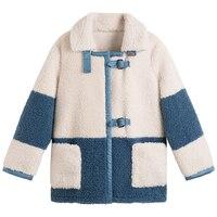 Women's Coat lambswool Winter Patchwork Blends Women Wool Jacket Thickened Warm Female Woolen Coats Lady Outwear 2019 New BLUE