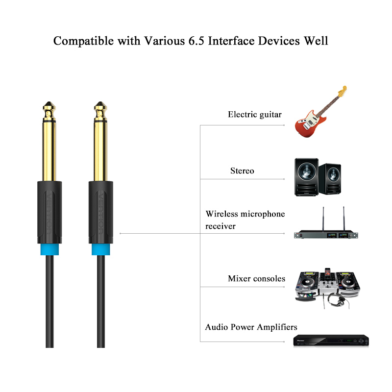 Image 5 - Vention Aux Guitar Cable 6.5 Jack 6.5mm to 6.5mm Audio Cable 6.35mm Aux Cable for Stereo Guitar Mixer Amplifier Speaker cablenew