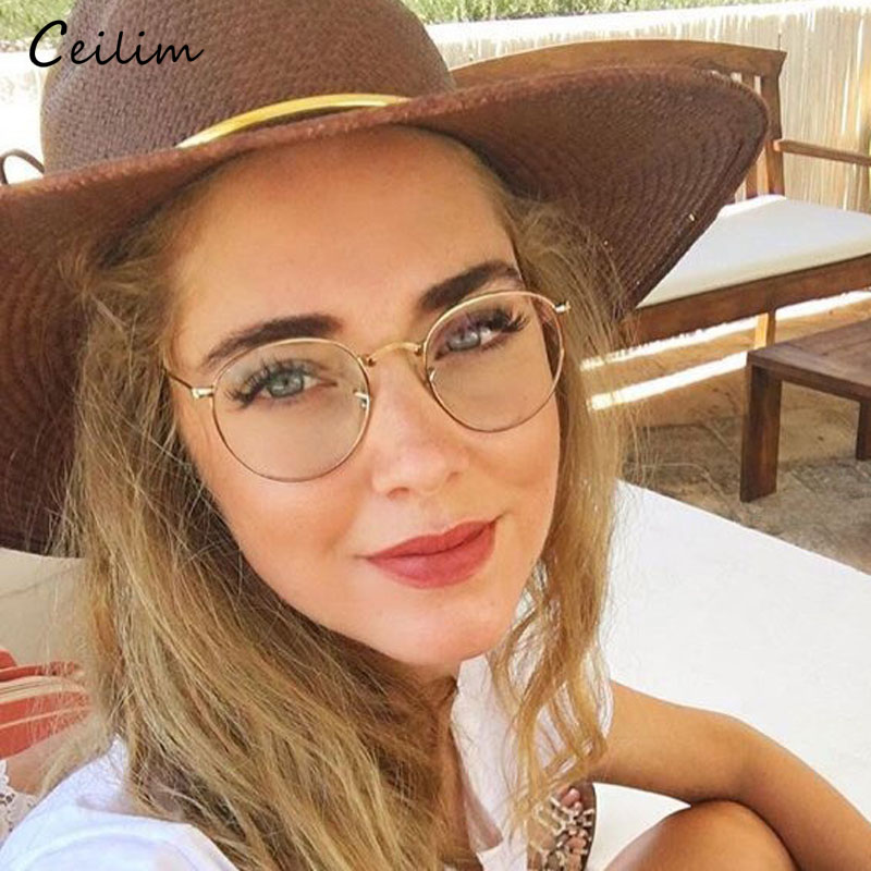 Computer Glasses 2019 Spectacle Frames Anti Blue Light Goggles Anti Glare Eyeglasses Frame Women Round Clear Lens Fake Glasses