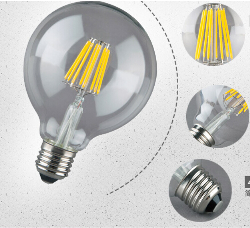 Dimmable G95 Big Global light bulb 4W/6W/8W filament LED bulb E27/B22 clear glass Edison indoor lighting lamp AC110V-240V edison led filament bulb g125 big global light bulb 2w 4w 6w 8w led filament bulb e27 clear glass indoor lighting lamp ac220v