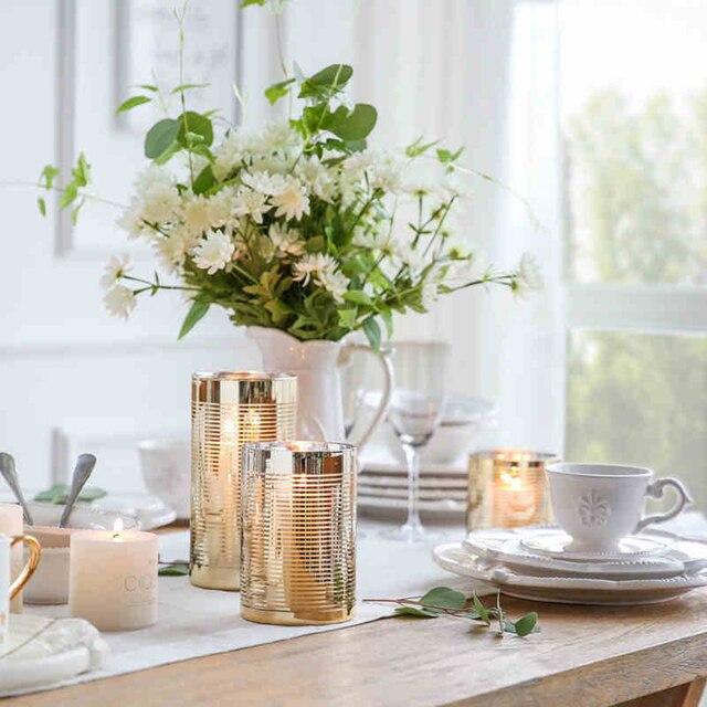 Neue Ankunft Kerzenhalter Kreative Draht Goldene Gras Kerzenstander