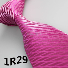 2018 Latest Style Tie Hot Pink Purplish Red Grid Striped Design Designer Tie Unique Men s