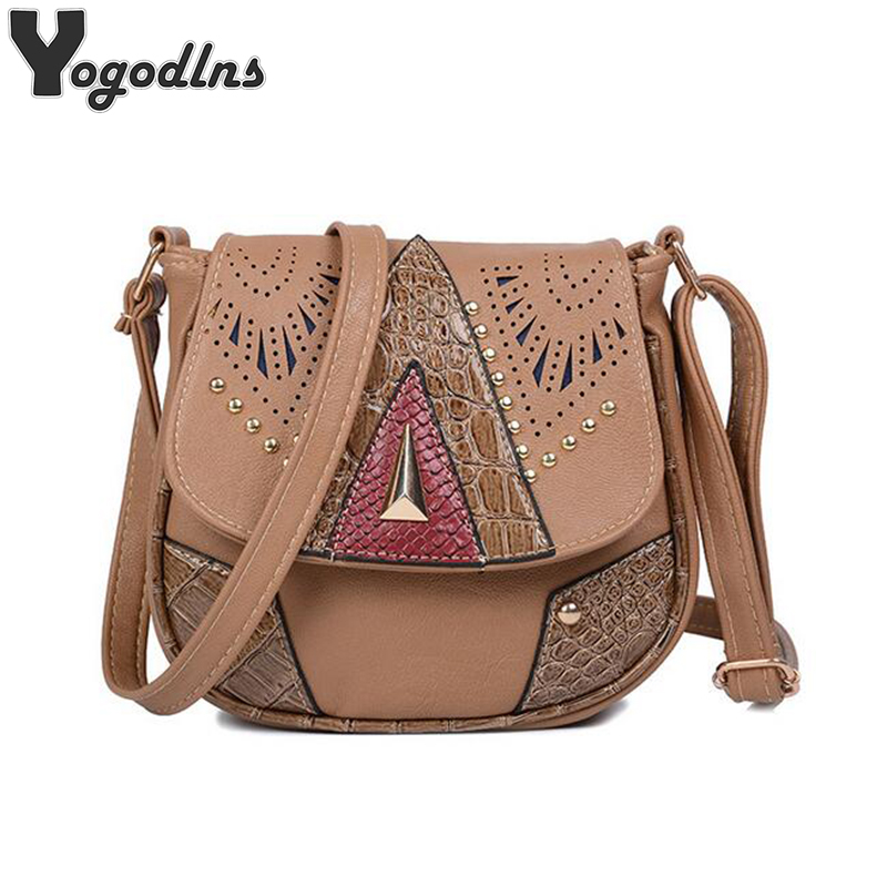 National Style Women Messenger Bags Vintage Shoulder Bag PU Leather Hollow Out Rivet Ladies Crossbody Bag Handbag For Women