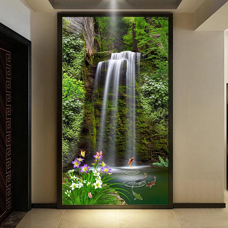 Chinese style waterfall forest landscape photo mural for Hotel entrance decor
