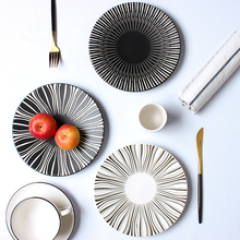 Ceramic double color printing Western food plate minimalist creativity straw hat pasta dish western style dessert