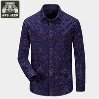 AFS JEEP Marca Shirts Camisa Dos Homens Do Exército Militar Camisa Masculina 100% Algodão Impressão Ocasional Camisa Homens Mangas Compridas Camisas
