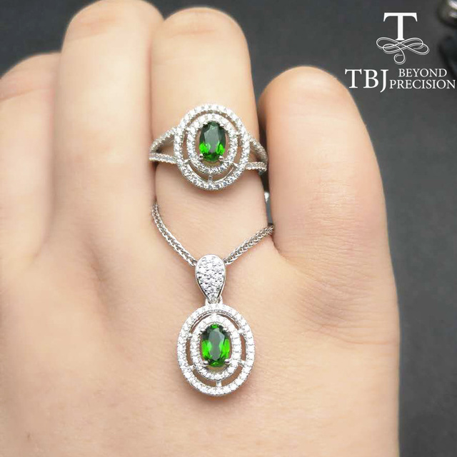 Tbj natural green chrome diopside pendant and ring classic jewelry tbj natural green chrome diopside pendant and ring classic jewelry set in 925 sterling silver aloadofball Images