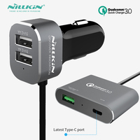 Nillkin Quick Car charger 2M QC3.0 USB + Type C Charger For Xiaomi Mi 6 Samsung S8 Iphone 7 plus