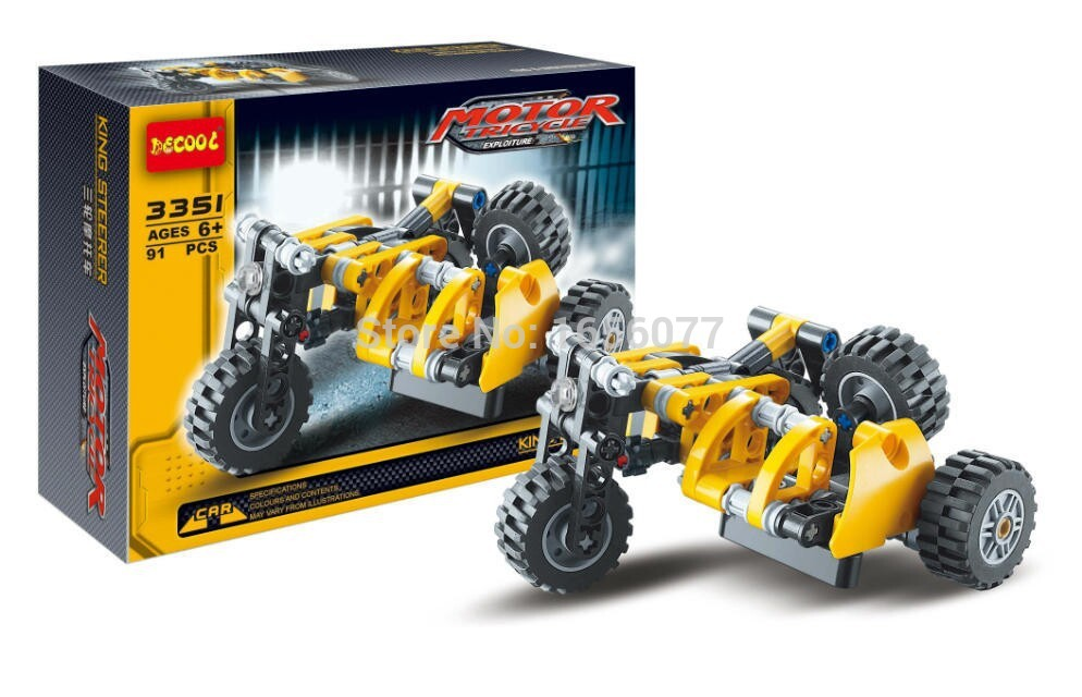 Decool 3347 3351 font b Science b font and Technology Series Engineering Forklift Motorcycle Building Block
