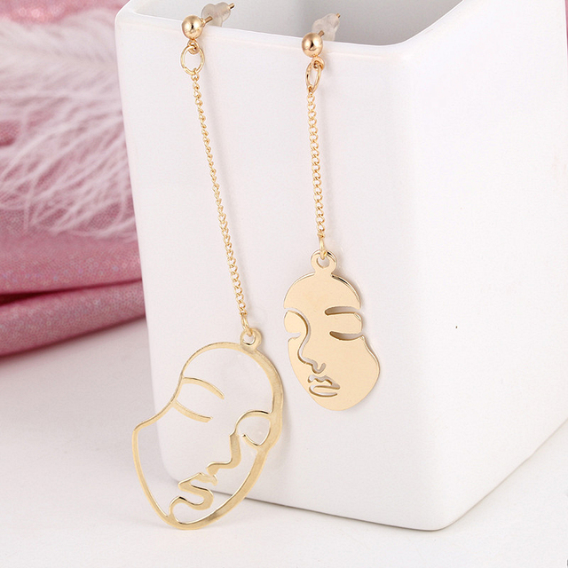 E0440 New Arrival Abstract Art Drop Earrings Gold Color Face Earrings For Women