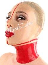 Бесплатная доставка ~ прозрачная и красная маска Резиновая мода латексный капюшон