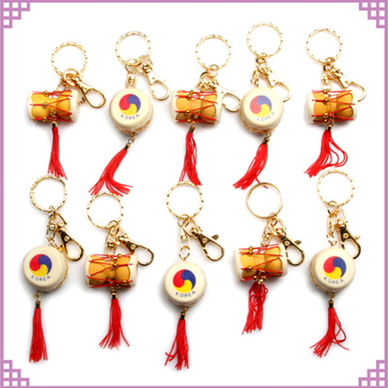 20pcs/Lot Mixed Korea Drum Keychain Waist Drum Key Chain Tassels Keyring Ethnic Bag Clothes Hangings