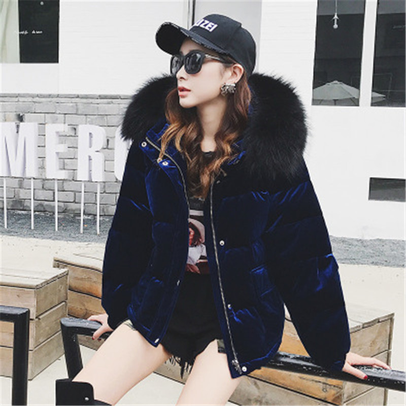 2020 New  Winter Women Velvet Down Jacket And Coat Thick Hooded Duck Down Jacket Puffer Feather Cazadoras Mujer Jacket D477
