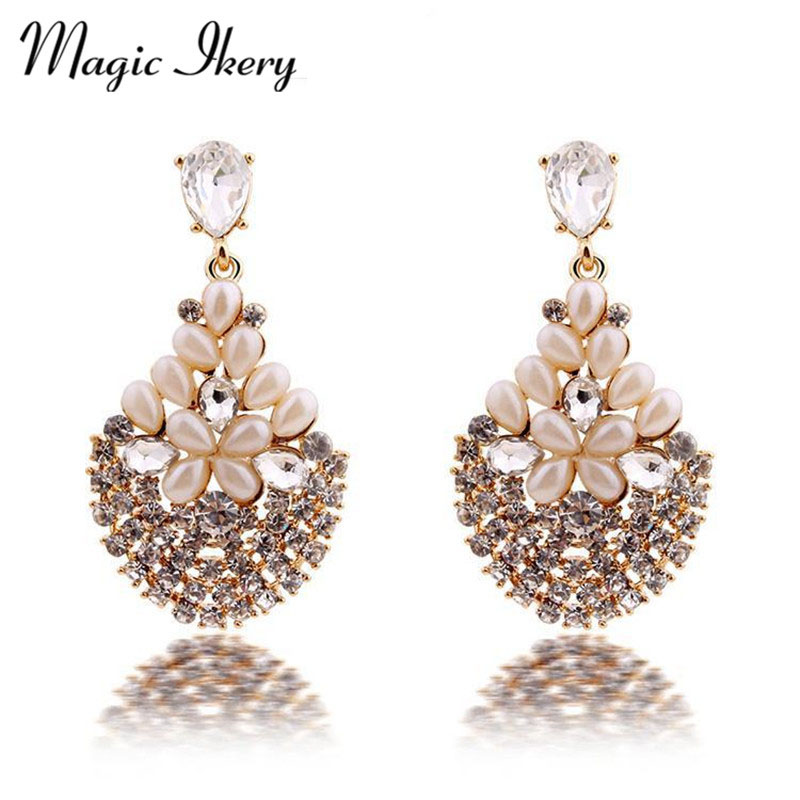 Magic Ikery Luxury Vintage Bossom Crystal Opal Flower font b Big b font Earrings with Jewelry
