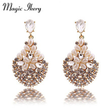 Magic Ikery Luxury Vintage Bossom Crystal Opal Flower Big Earrings with Jewelry Box Gold Color Imported for Women MKY2644