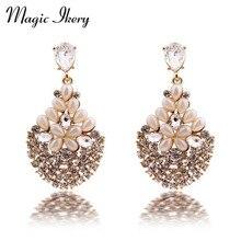 Magic Ikery Luxury Vintage Bossom Crystal Opal Flower font b Big b font Earrings with Jewelry