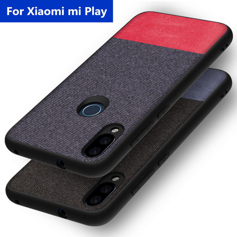 For Xiaomi mi play Case Fabric Cloth Full protection Back Cover Phone Fundas Coque Dark Business