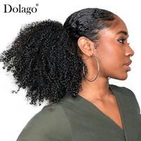 3B 3C Kinky Curly Ponytail For Women Remy Hair 1 Piece Clip In Ponytails Extension Natural Black 100% Human Hair Dolago
