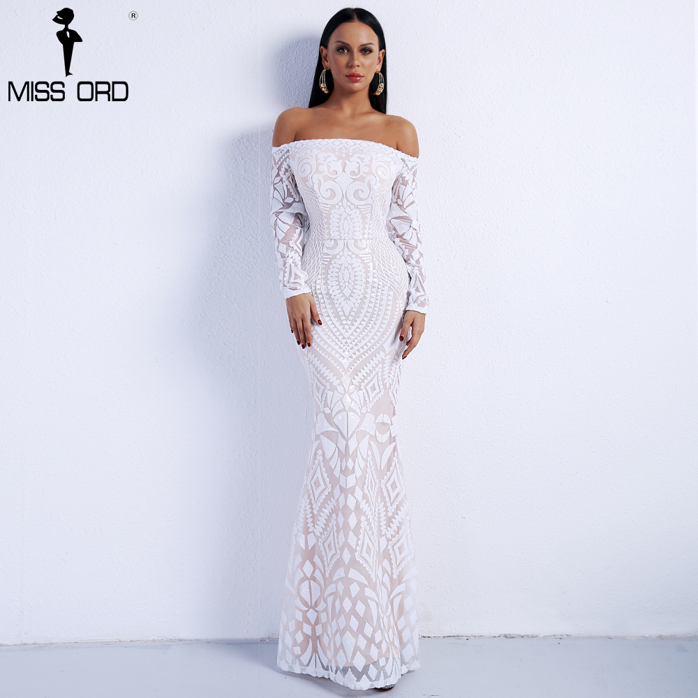 Missord 2018 Sexy Slash Neck Long Sleeve Retro Geometry Dresses Female Sequin Maxi Party Dress FT8249-2