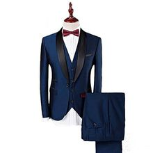 Navy Blue with Black Lapel Slim Fit 3 Pieces Formal Business Causal Custom made