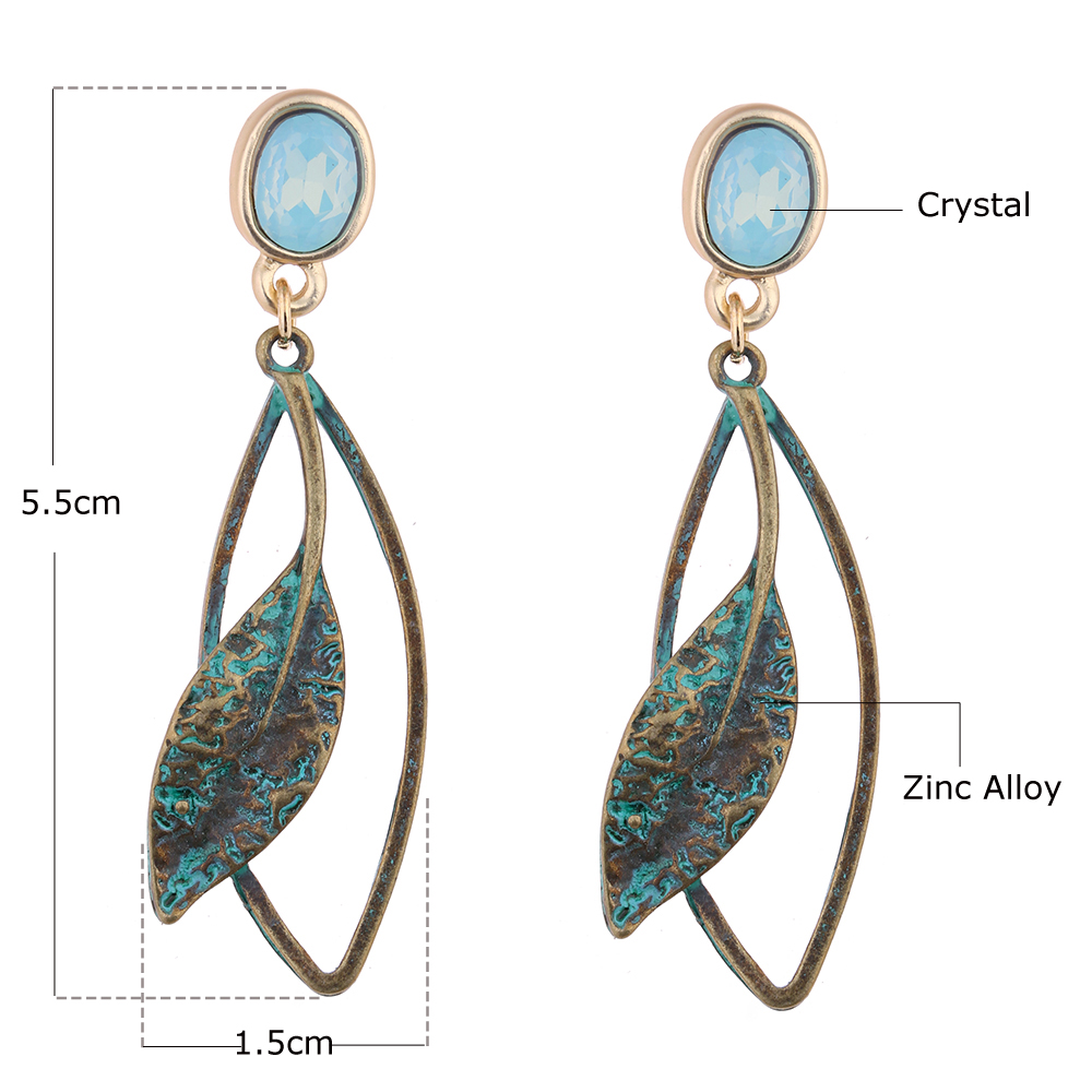 MloveAcc Popular New Ethnic Vintage Leaf Drop Dangle Earrings for Women Light Blue Crystal Opal Antique Bronze Plated Jewelry