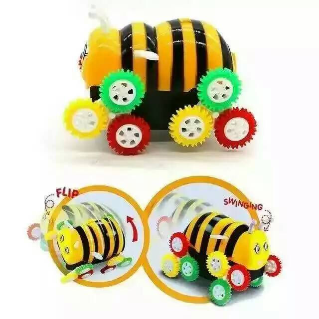 Box Toys Cartoon Encounter Obstacles Flip 12 wheels Bee Dumpers Kids Children Electric Toy Car