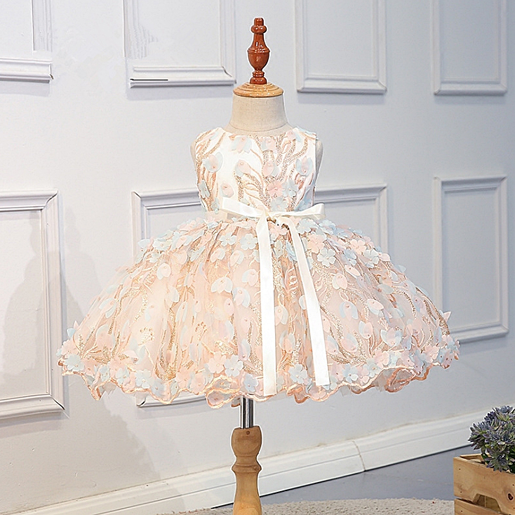 R138 Retail Flowers Petal Embroidery Costume Tutu Princess Baby Girl Dress Party Wedding Kid Dresses For