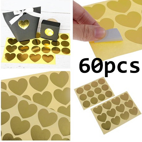 60pcs Golden Heart Sealing Stickers DIY Round Gifts Labels Packaging Stickers eR