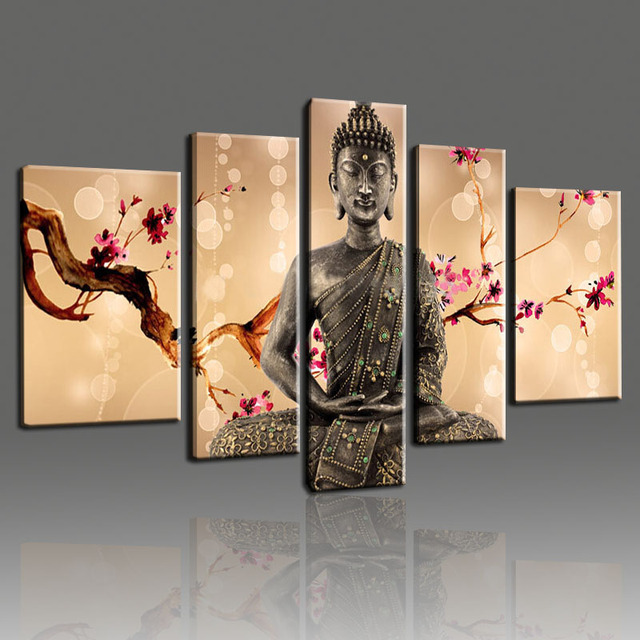 Hand Painted Bossom Cherry Flower Buddha Oil Painting Wall Art ...