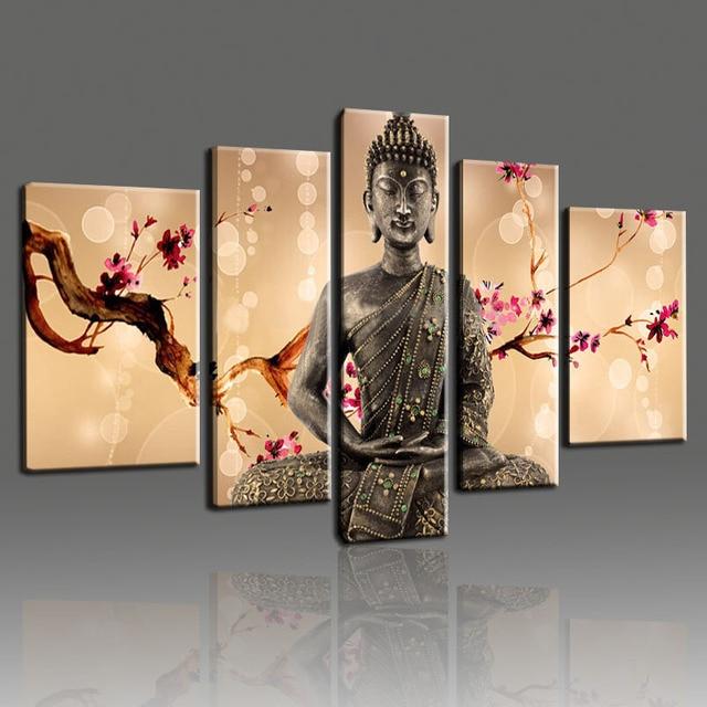 Handgemalte Bossom Kirsche Blume Buddha ölgemälde Wandkunst Leinwand