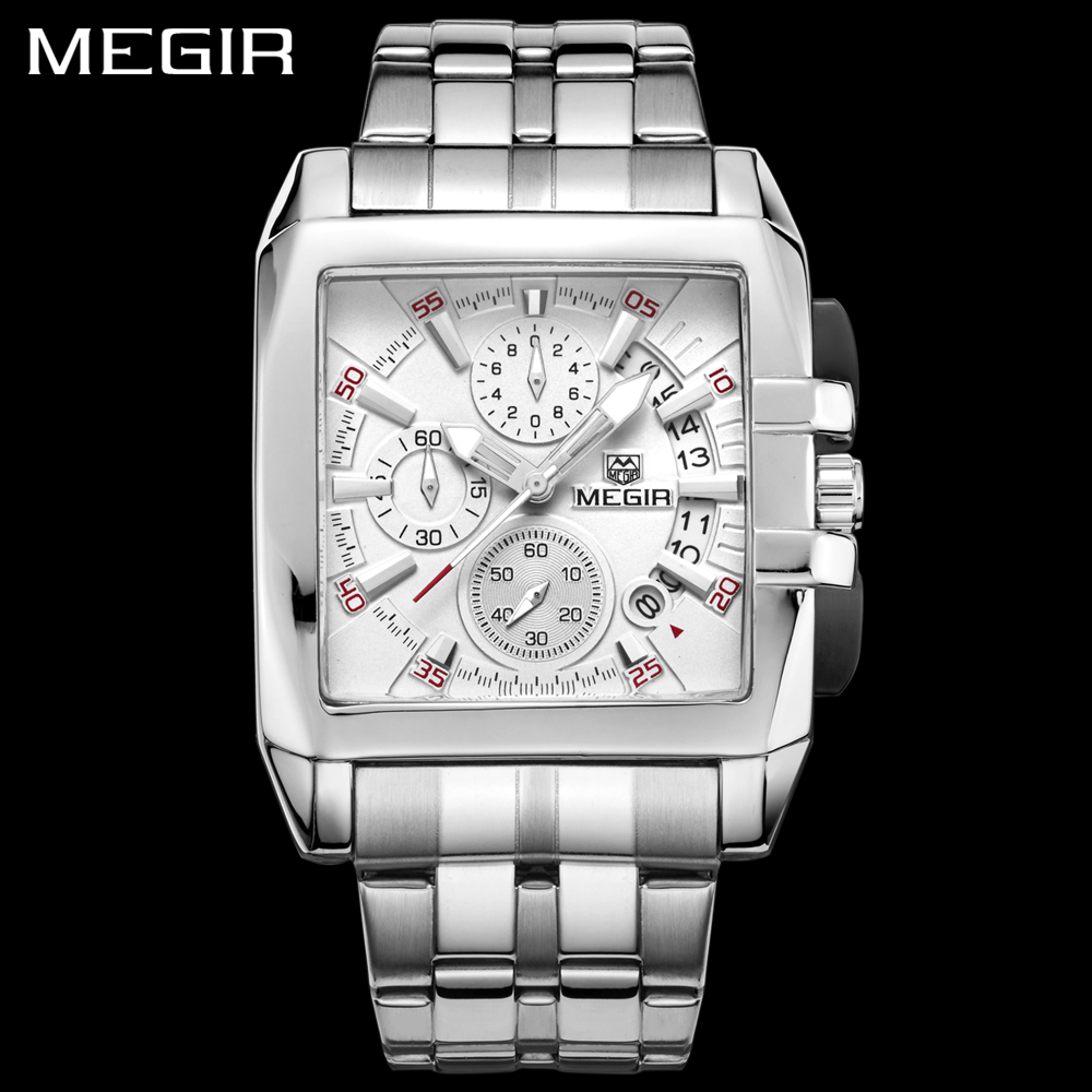 MEGIR Luxury Brand Quartz Watches Men Chronograph Stainless Steel Clock Male Sport Wrist Watch Man Clock Relogios Masculino 2018