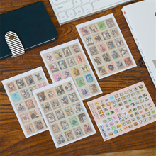 30packs/lot yeni DIY vintage Alice damga kağıt etiket 4 başına seti not sticker dekorasyon etiket öğrencileri diy günlüğü etiket