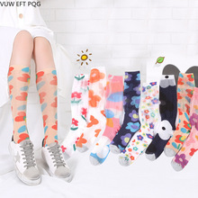 Net red yarn cotton female growth socks printed pink flower pattern fashion color