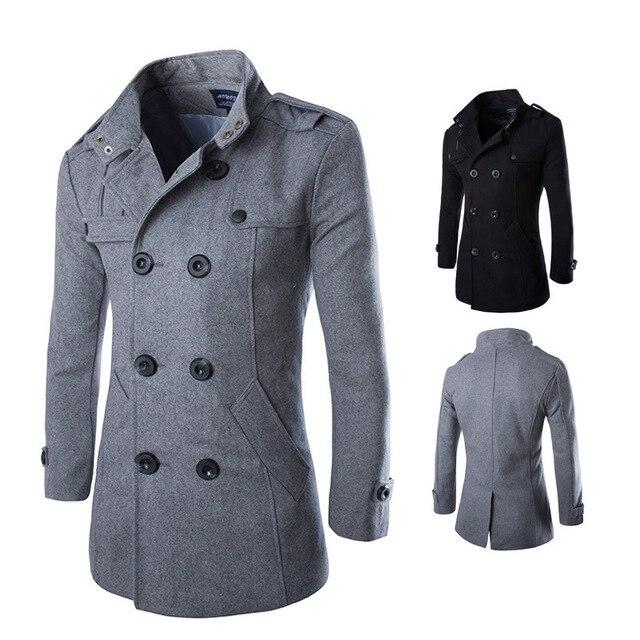 New british classic gabardina larga negro gris doble de pecho slim fit Chaqueta Al Aire Libre Outwear Cazadora más el tamaño 3XL