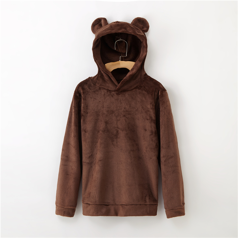 Women's Flannel Hoodies Sweatshirts Lovely With Bears Ears Solid Warm Hoodie Autumn Winter Casual Campus Pullovers Coat 12
