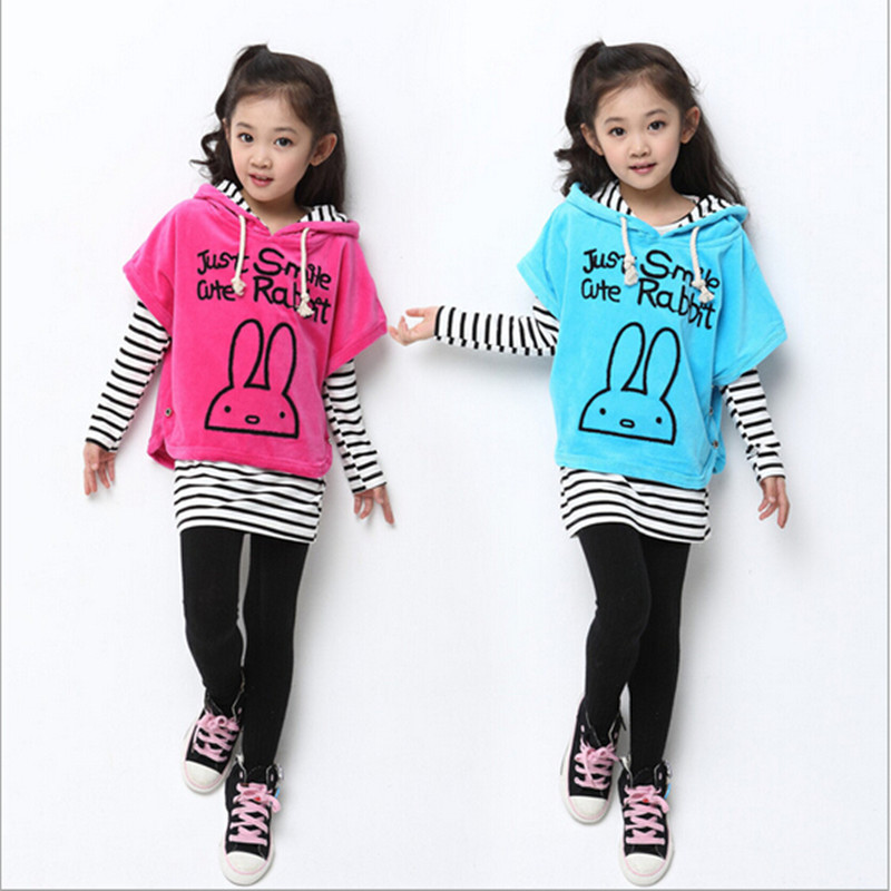 2016 Brand Girl Autumn Spring 3 Pieces Print Cartoon Rabbit Clothing Set Girls Sport Princess School Striped Lovely Clothing Set glasgow k girl in pieces