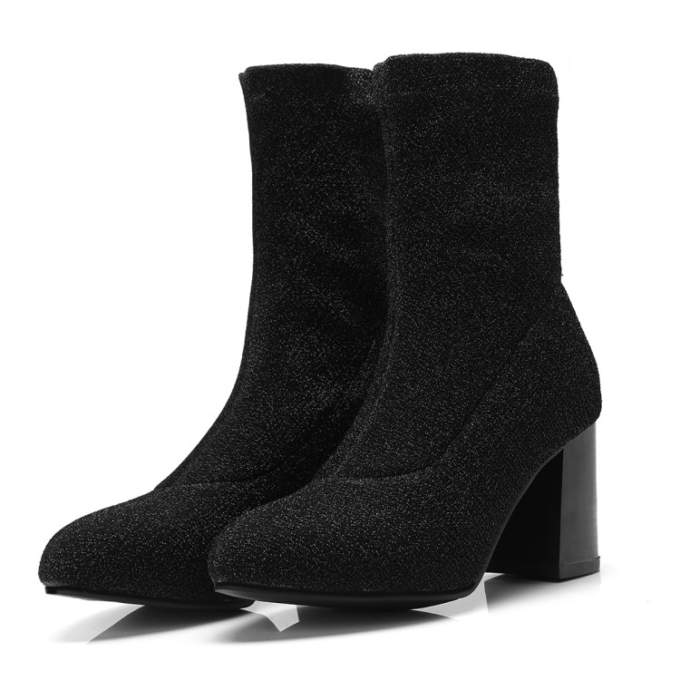 Woman boots Female Fashion Stretch Fabric Pointed Toe Slim Ankle Boots Ladies Slip On High Heel Sexy Black Plus Size Shoes 35-43 mcckle 2017 ladies fashion sexy autumn winter ankle boots female slip on zip black solid platform high heels plus size34 43