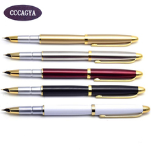 CCCAGYA D001 0.38mm nib ink pen. School Stationery Office Learning Student Business Metal gift pen Pencils Writing  Fountain
