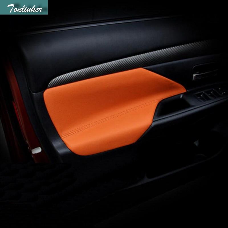 Tonlinker 2 piezas DIY Car Styling PU de cuero puerta del coche - Accesorios de interior de coche