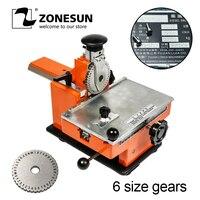 ZONESUN máquina de Estampagem De Chapa de Metal Manual de Engrenagem de Aço de Gravação Da Máquina com 6 Nome Da Liga de Alumínio Placa Stamping Rótulo Engrave Ferramenta