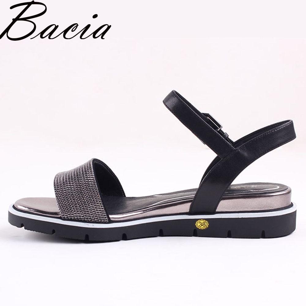 4352c51b33 Melhor Bacia New 2017 Sandálias de Pele de Ovelha Moda Lichia patern couro  Preto Sapatos De Couro de Verão Sapatos de Salto Baixo Cunhas 35 41 VXA025  Barato ...