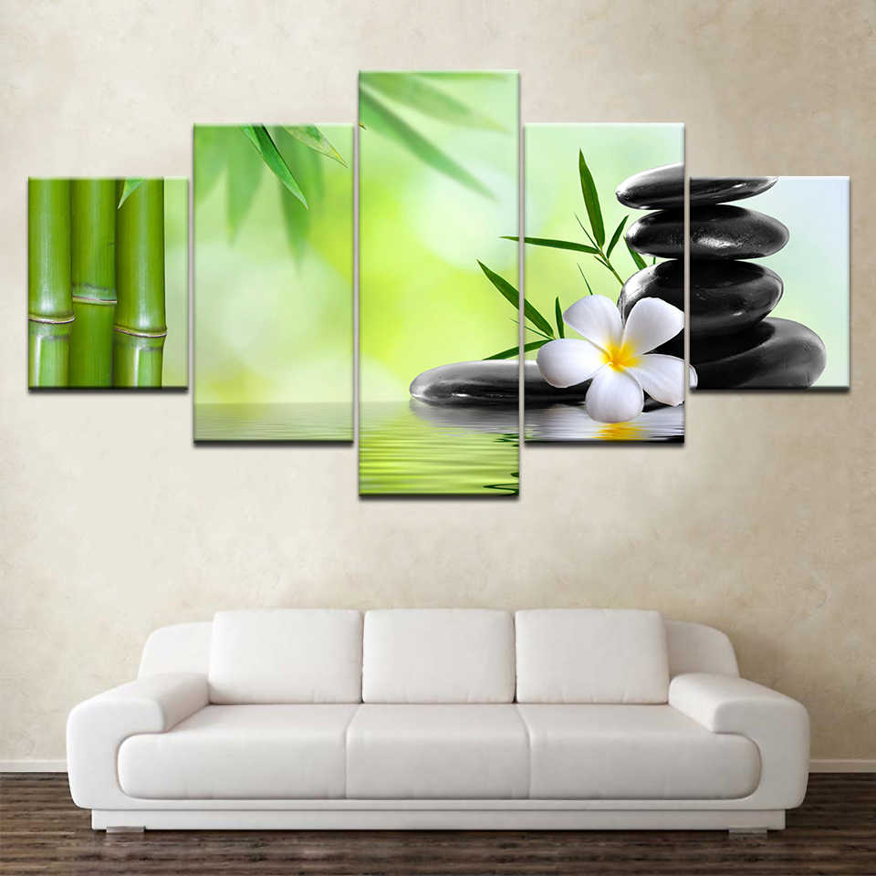 5 Panel Wall Art Oil Painting Spa Stone Bamboo Orchid Home Decoration Canvas Prints Pictures for Living Room Artwork(No Frame)