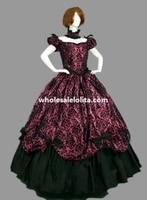 Historical Brocade & Cotton Victorian Dress Ball Gown Reenactment Clothing