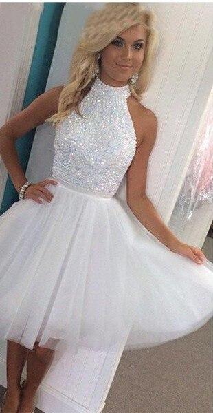 61897ce0c9 Tul blanco alto v-cuello fuera del hombro corto vestido de fiesta con  cuentas Vestidos
