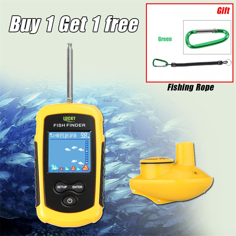 Lucky Fish Finder Wireless Portable LCD Depth 120M Echo Sounder Alarm Fishing Finder Sonar Sensor Transducer